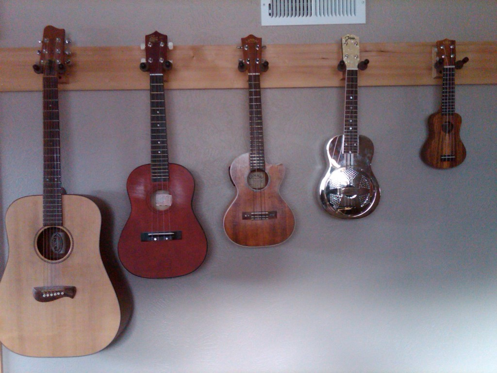 Guitar,  Baritone Uke,  Tenor Uke,  Soprano Uke and Kala Pocket Ukulele