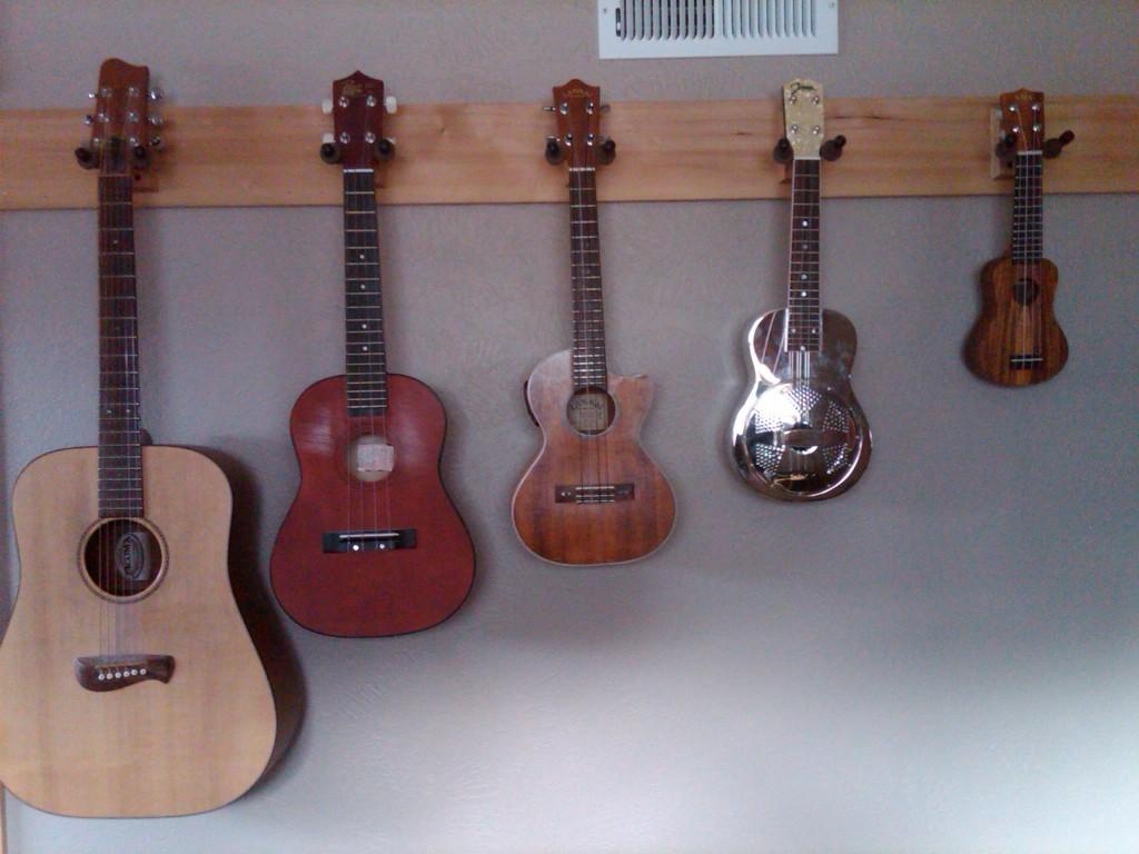 Guitar,  Baritone Uke,  Tenor Uke,  Soprano Uke and Kala Pocket Ukulele
